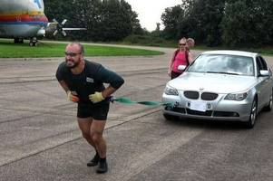 former royal marine pulls bmw for more than 25 miles on leicestershire test track
