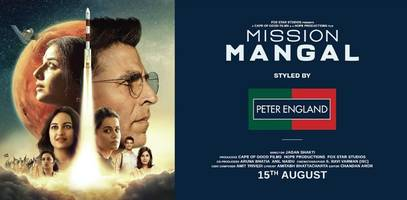 peter england joins forces with the upcoming bollywood movie 'mission mangal' to style akshay kumar