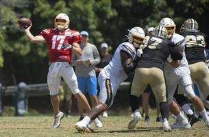 Close friends Brees and Rivers get to share practice field