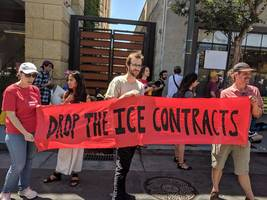 protesters blocked palantir's cafeteria to pressure the $20 billion big data company to drop its contracts with ice