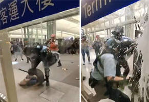 video shows the moment when civilians fight back against police in hong kong
