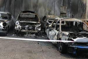 scene of twisted devastation after five cars are set on fire in gorseinon