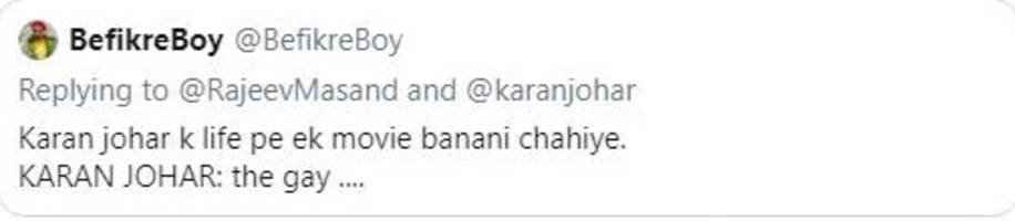 karan johar gives a witty reply to troll for joking about his sexuality