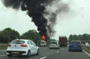 arson suspected after van fire on a30