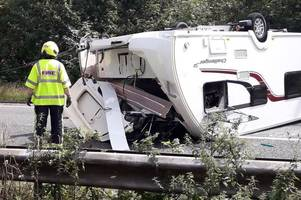 a380 to remain closed into rush hour after caravan flips - live updates