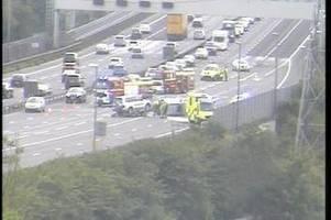 m5 traffic: all emergency services at scene of crash blocking multiple lanes - live updates