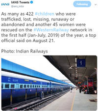 western railway rescued 422 kids, 45 women in the last six months