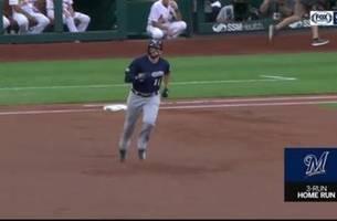 watch: moustakas shows off golf swing, hits 3-run home run