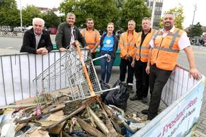 shameful amount of rubbish fished from river freshney - including hoovers and wardrobe doors piled up in town centre