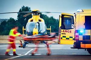 'severely trapped' man cut free and airlifted to hospital with head injury after a30 crash