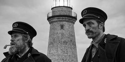 robert pattinson and willem dafoe spiral into madness in the fantastic horror movie, 'the lighthouse'