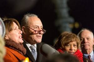 chuck schumer accuses trump of 'stealing from our military families'