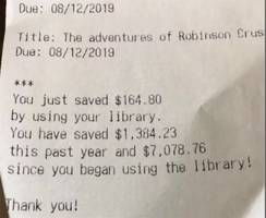 Public Library receipt shows  how much cheaper it is to  borrow than buy books