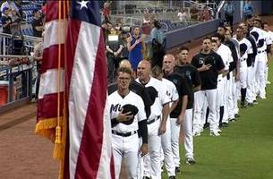 watch: national anthem at brewers-marlins matchup on the 18th anniversary of patriot day