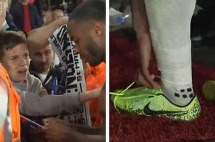Boy 'absolutely buzzing' after Manchester City star Raheem Sterling hands over his boots following England's victory over Kosovo