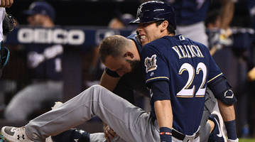 Report: Christian Yelich Won't Require Surgery on Fractured Right Kneecap