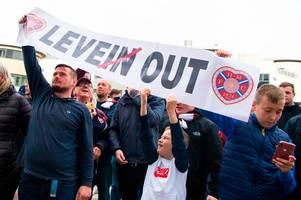 Craig Levein targeted by seething Hearts fans' protest as Jambos hit rock bottom