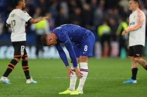 jorginho and willian's reactions as ross barkley does a paul pogba with woeful chelsea penalty