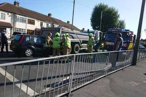 rainham crash: photos show collision between car and truck near junior school