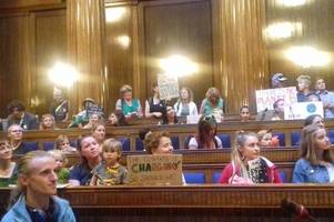 youth climate strike protesters occupy the swansea council chamber