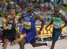 christian coleman outruns rival to win 100-meter world title