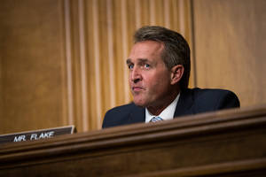 former senator jeff flake appeals to fellow republicans: don't support trump in 2020