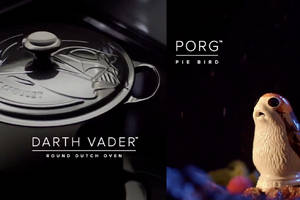 The Star Wars x Le Creuset collection features Darth Vader Dutch ovens and Porg pie birds