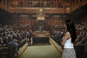 'monkey business': banksy painting of primates in british parliament sold for $12.2 million