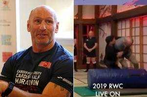 gareth thomas taken down by craig doyle during live itv rugby world cup broadcast