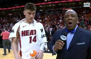 Tyler Herro talks about facing his first NBA action in Heat's preseason win