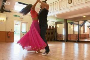 inside the village hall where emma and aljaz practice for strictly come dancing