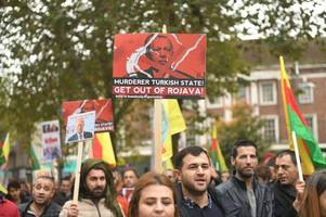 Flags set on fire as angry Kurdish protesters in Hull call for UK to help stop 'genocide'