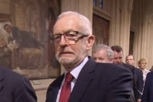 the jeremy corbyn expression which sums up mood of the nation ahead of queen's speech
