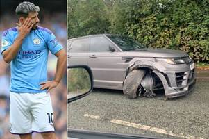 breaking sergio aguero in car crash on eve of man city return to action