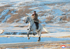 north korea's kim rides white horse on sacred mount in 'defiant message'