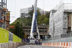 Footage shows construction of crane which will be used to demolish front of Broadmarsh centre