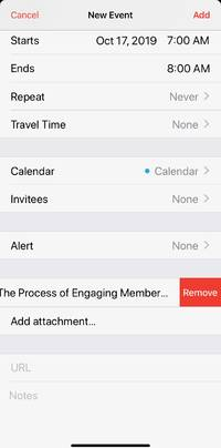 how to add attachments to calendar events on an iphone with ios 13