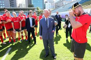 prince charles turns up at wales training session in japan and presents owen lane with rugby world cup cap