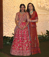 see photos: radhika merchant steals the show in an off-white anarkali suit at big b's diwali bash
