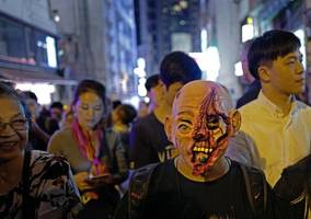 hong kong braces for halloween protest march to famous party zone
