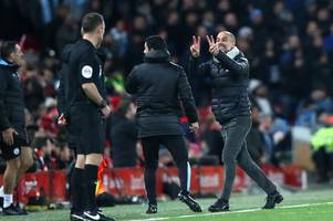 Man City boss Pep Guardiola fumes with Sky Sports at half-time during Liverpool loss