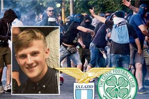Celtic fan's terror after being stabbed in back by masked Lazio thug in Rome ambush