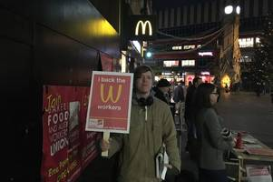 why protesters were outside leicester's highcross mcdonald's