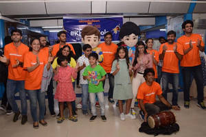 mumbai: western railway and nickelodeon stage cartoon event at churchgate for children's day