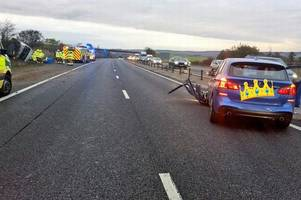 M11 traffic: Police officers abused by drivers after overturned van crash shut road