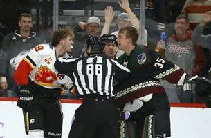 coyotes g kuemper fights tkachuk, shuts out flames