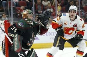 kuemper records shutout, coyotes beat flames 3-0