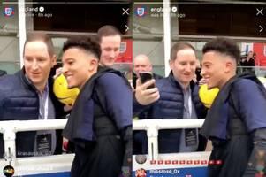jadon sancho laughs at man utd fan after transfer request
