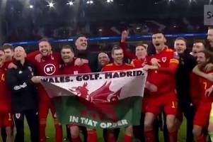 gareth bale just danced with a 'wales. golf. madrid.' flag and fans are loving it