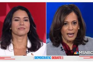 kamala harris calls out tulsi gabbard for fox news appearances, trump meeting and assad stance (video)